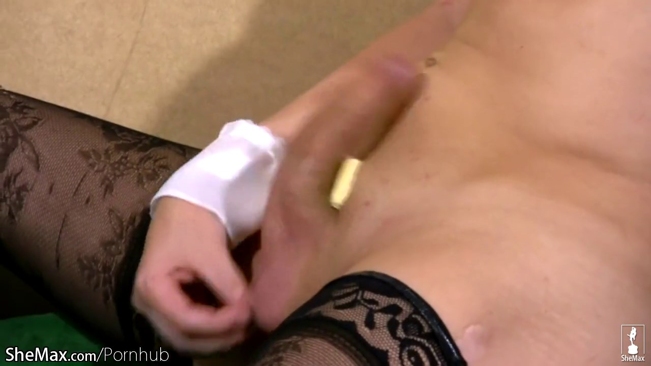 Cute t_girl fondles her small titties and shaved bubble ass